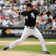 CHICAGO - JULY 10:  Jake Peavy #44 of the Chicago White Sox pitches against the Minnesota Twins on July 10, 2011 at U.S. Cellular Field in Chicago, Illinois.  The Twins defeated the White Sox 6-3.  (Photo by Ron Vesely)  Subject: Jake Peavy