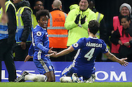 Willian of Chelsea celebrates scoring his sides 3rd goal .Premier league match, Chelsea v Stoke city at Stamford Bridge in London on Saturday 31st December 2016.<br /> pic by John Patrick Fletcher, Andrew Orchard sports photography.