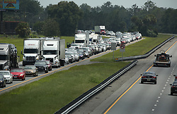Traffic rolls at a crawl on the northbound lanes of Florida's Turnpike near the intersection of I-75 in Wildwood on Friday, Sept. 8, 2017. Motorists are evacuating for the anticipated arrival of Hurricane Irma. Photo byStephen M. Dowell/Orlando Sentinel/TNS/ABACAPRESS.COM