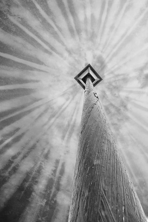 A black and white perspective looking up from the bottom of a street light