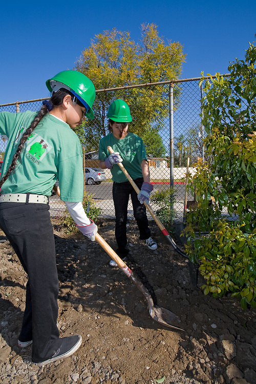 LA Conservation Corps helping with Tree Planting at Calvert Elementary School in Woodland Hills. Los Angeles Conservation Corps works with local community groups to plant trees as part of Mayor's office One Million Trees LA Initiative. LA Conservation Corps provides job skills training, education and work experience with an emphasis on conservation and service projects that benefit the community.