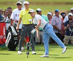 September 21, 2017 - Atlanta, GA, USA - Justin Thomas and Jordan Spieth tee off on the 4th hole in the opening round of the Tour Championship on Thursday, Sept. 21, 2017, at Eastlake Golf Club in Atlanta. (Credit Image: © Curtis Compton/TNS via ZUMA Wire)