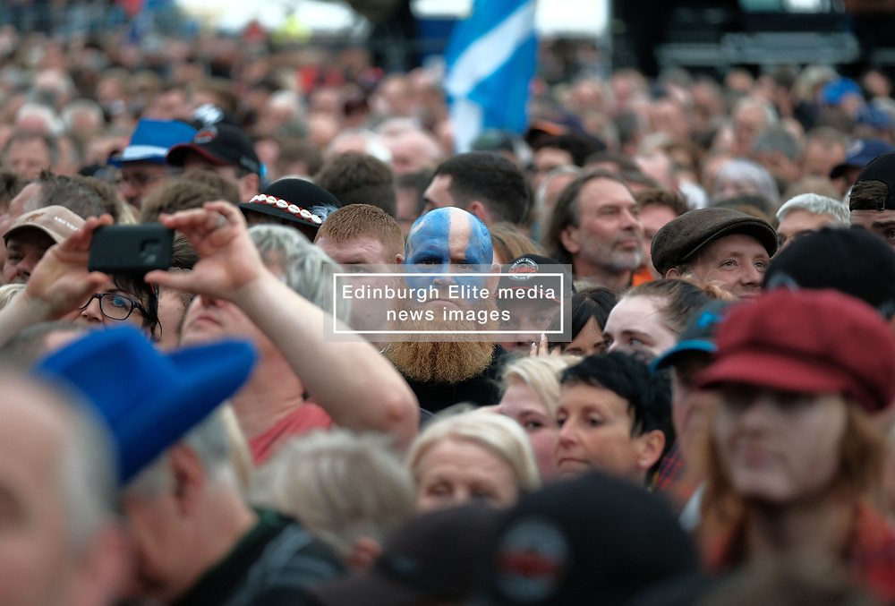 RUNRIG - THE LAST DANCE - FINAL FAREWELL CONCERT, Stirling, Saturday,18th August 2018<br /> <br /> Veteran Scottish rockers Runrig played their farewell concert tonight to mark their retirement after 45 years in the music business.<br /> <br /> The current line-up features Rory Macdonald (Bass), Calum Macdonald (Percussion), Iain Bayne (Drums), Malcolm Jones (Guitar), Brian Hurren (Keyboard) and Bruce Guthro (Lead Singer)<br /> <br /> They were supported by former member Donnie Munro and Julie Fowlis<br /> <br /> Pictured:  Runrig fans<br /> <br /> <br /> (c) Alex Todd   Edinburgh Elite media
