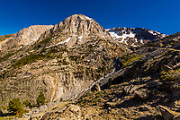 Climbing up Tioga Pass through the Sierra Nevada Mountains to the eastern entrance of Yosemite National Park, California USA.