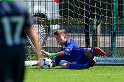 NEWPORT, WALES - Tuesday, July 24, 2018: Goalkeeper Joseph Smith saves a penalty during the Welsh Football Trust Cymru Cup 2018 at Dragon Park. (Pic by Paul Greenwood/Propaganda)