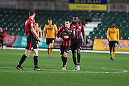 Aidan Hawtin © of Brackley celebrates after he scores his teams 1st goal.  Emirates FA Cup 1st round replay match, Newport county v Brackley Town at Rodney Parade in Newport, South Wales onTuesday 17th November 2015. pic by Andrew Orchard, Andrew Orchard sports photography.