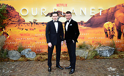 Brooklyn Beckham and David Beckham attending the global premiere of Netflix's Our Planet, held at the Natural History Museum, London.