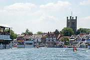 """Henley on Thames, United Kingdom, 3rd July 2018, Sunday,  """"Henley Royal Regatta"""",  Double Sculls Challenge Cup , Finalists, (Left) Bow Angus GROOM, Stroke Jack BEAUMONT GBR M2X, Leander Club,cross the Finish Line, ahead of (Right) Bow Gary O'DONOVAN, Stroke Paul O'DONOVAN, IRL M2X, Skibbereen Rowing Club,  View, Henley Reach, River Thames, Thames Valley, England, UK."""