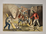 Sappers [a military engineer who does sapping (digging trenches or undermining fortifications)] at work in the Batteries Lithograph from the book Campaign in India 1857-58 Illustrating the military operations before Delhi ; 26 Hand coloured Lithographed plates. by George Francklin Atkinson Published by Day & Son Lithographers to the Queen in 1859