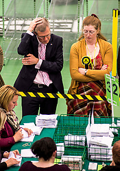 Scottish Lib Dem leader Willie Rennie can't hide the nerves during the third recount of the North East Fife constituency.<br /> <br /> © Dave Johnston/ EEm