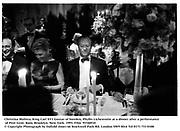 Christina Molitea, King Carl XV1 Gustav of Sweden, Phyllis Lichenstein at a dinner after a performance of Peer Gynt. Bam, Brooklyn. New York. 1993. Film  93340f10<br />© Copyright Photograph by Dafydd Jones<br />66 Stockwell Park Rd. London SW9 0DA<br />Tel 0171 733 0108