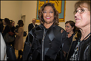 ZAHA HADID at the Private view for A Strong Sweet Smell of Incense<br /> A Portrait of Robert Fraser, Curated by Brian Clarke. Pace Gallery. 6 Burlington Gardens. London. 5 February 2015.