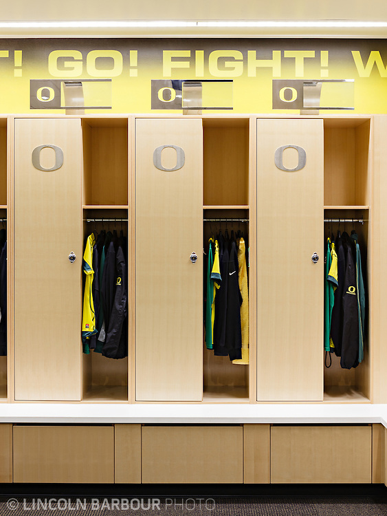Architectural photo of University of Oregon's Women's Soccer & Lacrosse Stadium. Designed by DLR Group. A detail of the home team lockers in the locker room.