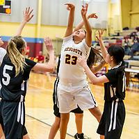 Photo: Jeffery Jones<br /> <br /> Rehoboth Lady Lynx Adrianna Pete (23) shoots the ball during Saturday adternoon's varsity girls basketball game against Menaul School at Rehoboth Christian School.
