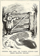 Abolition of the Corn Laws: Robert Peel (1788-1850), Conservative protectionist Prime Minister, opening the gate to Free Trade and the Anti-Corn Law League.  The shadow is that of Richard Cobden (1804-1865).  Cartoon from 'Punch', London, 1845.