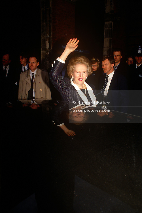 Ex-Prime Minister Margaret Thatcher leaves former Finchley constituence while campaigning for John Major's 1992 election.