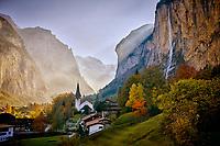 Lauterbrunnen, Switzerland lies in a valley of the Berner Oberland region of Switzerland