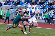 Workington Town winger Sam Forrester (2) gets away to score a try during the Ladbrokes Challenge Cup round 3 match between Hunslet Club Parkside and Workington Town at South Leeds Stadium, Leeds, United Kingdom on 24 February 2018. Picture by Simon Davies.