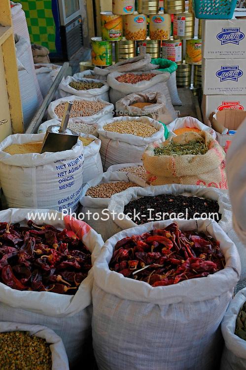 Dried herbs at an outdoor market, Akko, Israel