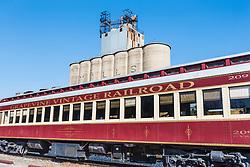 Train car and B&D Mills at Cotton Belt Railroad Depot, Grapevine, Texas USA