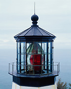 Historic Fresnel lens in Cape Meares Lighthouse, Cape Meares State Park, Oregon.