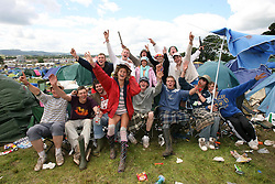 Clean-up pic on the Monday at the main camp site area, T in the Park, Monday 9 July 2007..T in the Park festival took place on the 6th, 7th and 8 July 2007, at Balado, near Kinross in Perth and Kinross, Scotland. This was the first time the festival had been held over three days..Pic ©Michael Schofield. All Rights Reserved..