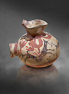 Minoan cay vase with painted goat in a crocus landscape from Akrotiri, Thira (Santorini), National Archaeological Museum Athens. 17th-16th cent BC.<br /> <br />  From the French Archaeological School in Athens collection. .<br /> <br /> If you prefer to buy from our ALAMY PHOTO LIBRARY  Collection visit : https://www.alamy.com/portfolio/paul-williams-funkystock/minoan-art-artefacts.html . Type -   Athens    - into the LOWER SEARCH WITHIN GALLERY box. Refine search by adding background colour, place, museum etc<br /> <br /> Visit our MINOAN ART PHOTO COLLECTIONS for more photos to download  as wall art prints https://funkystock.photoshelter.com/gallery-collection/Ancient-Minoans-Art-Artefacts-Antiquities-Historic-Places-Pictures-Images-of/C0000ricT2SU_M9w