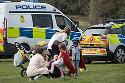 © Licensed to London News Pictures. 08/04/2020. London, UK. A large police presence in Primrose Hill in North London, during a pandemic outbreak of the Coronavirus COVID-19 disease. The public have been told they can only leave their homes when absolutely essential, in an attempt to fight the spread of coronavirus COVID-19 disease. Photo credit: Ben Cawthra/LNP