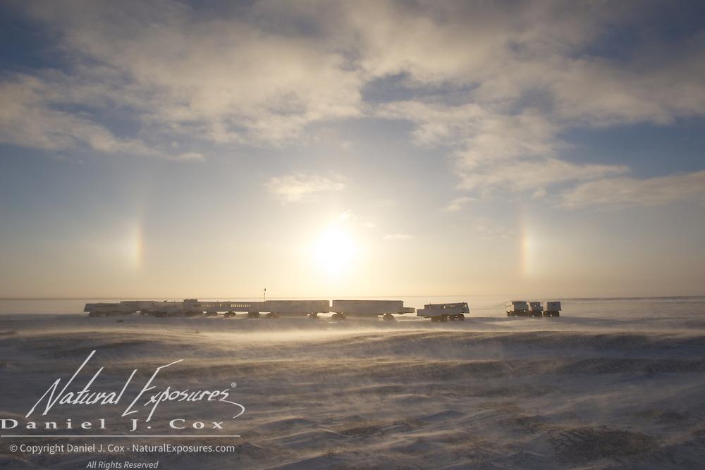 Tundra Buggy Lodge at Cape Churchill, sun dogs and the sun. Manitoba.