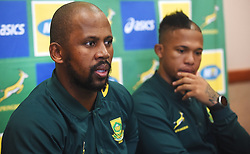 Cape Town-180619 Springbok assistant captain Mzwandile Stick talking about their plan for the final test game against England  at Newslands on Saturday.He said this during a press conference at the Cullinan Hotel in Cape Town,next to him is flyhalf Elton Jantjies .Photographer:Phando Jikelo/African News Agency/ANA
