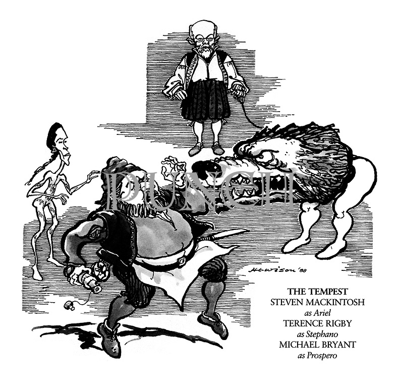 The Tempest. Steven Mackintosh as Ariel, Terence Rigby as Stephano, Michael Bryant as Prospero