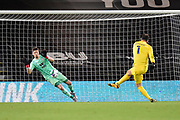 Wayne Hennessey (13) of Crystal Palace makes a save in the penalty shootout from Asmir Begovic (1) of AFC Bournemouth during the EFL Cup match between Bournemouth and Crystal Palace at the Vitality Stadium, Bournemouth, England on 15 September 2020.