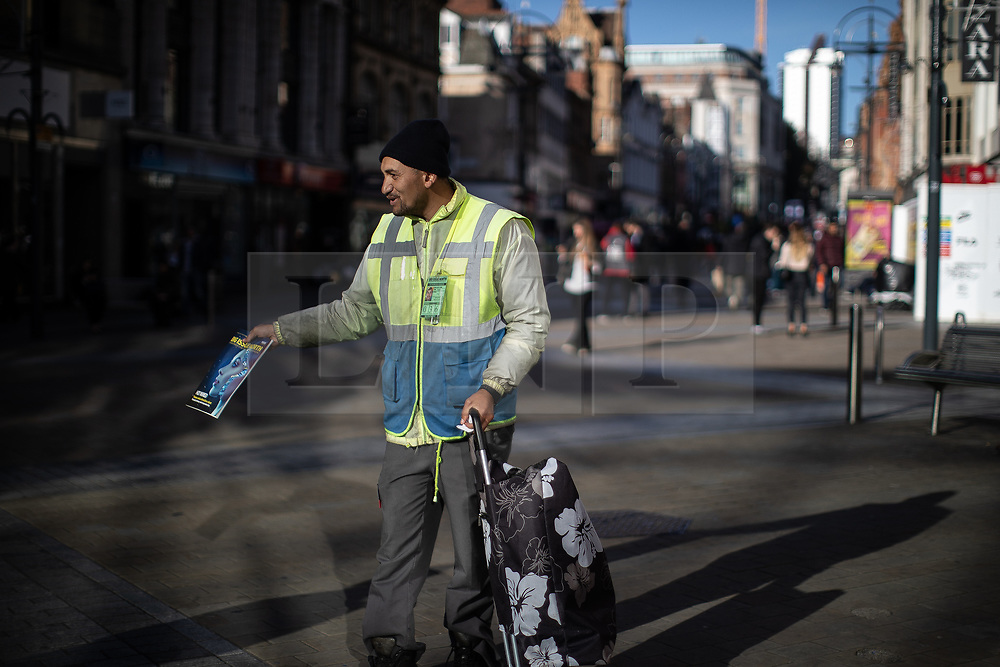 © Licensed to London News Pictures . 24/10/2018. Leeds , UK . Big Issue seller VASILE CALIN on Briggate . At least six people sleeping rough have died in the Metropolitan Borough of the City of Leeds since March 2017 and West Yorkshire Police say they responded to 66 reported cases of people suffering the effects of Spice in July 2018 , a large increase on previous months . Photo credit : Joel Goodman/LNP