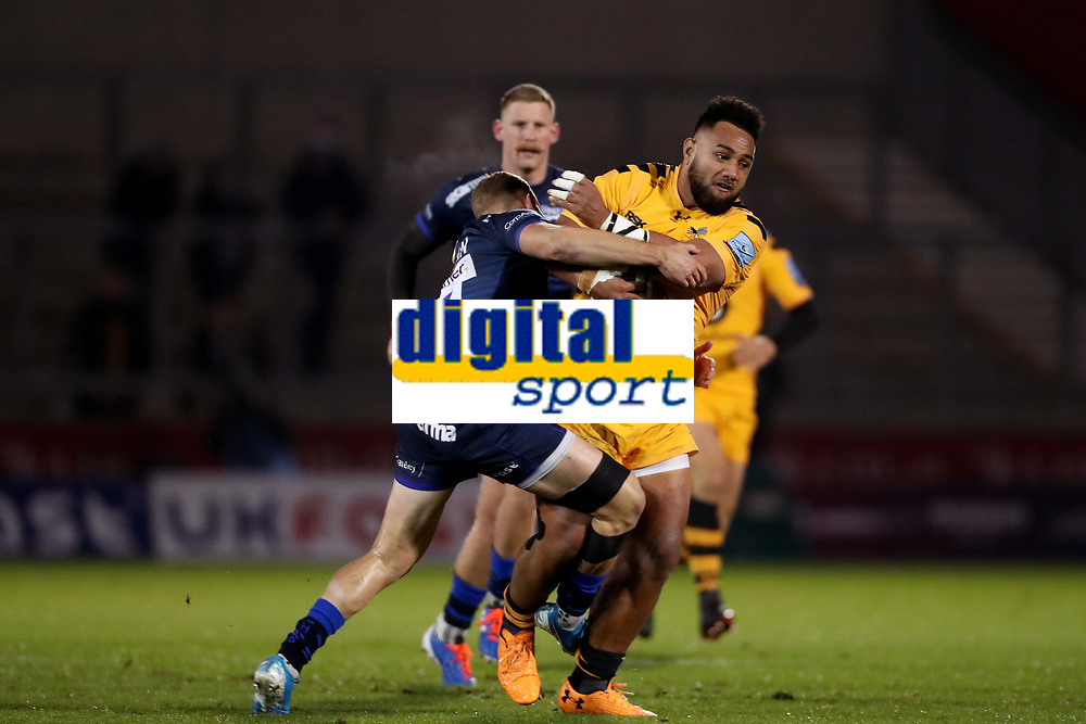Rugby Union - 2019 / 2020 Gallagher Premiership - Sale Sharks vs. Wasps <br /> <br /> Sione Vailanu of Wasps is tackled by Byron McGuigan of Sale Sharks, at AJ Bell Stadium,<br /> <br /> COLORSPORT/PAUL GREENWOOD