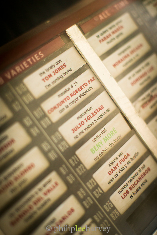 Close up of jukebox with song list, Havana, Cuba