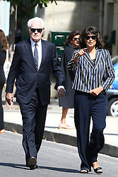 Lionel Jospin and his wife Sylviane Agacinski attending the funeral ceremony of French designer Sonia Rykiel at the Montparnasse cemetery in Paris, France on September 1, 2016. The 86 years old pioneer of Parisian womenswear from the late 1960's onwards, has died from a Parkinson's disease-related illness. Photo by ABACAPRESS.COM