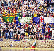 Sydney. AUSTRALIA, Women's, Olympic, Single Sculls Gold Medalist: Ekaterina [KHODOTOVICH] KARSTEN. Waves to the spectators after the medal presentation. 2000 Olympic Games - Olympic Regatta; Penrith, NSW. [Mandatory Credit: Peter Spurrier: Intersport Images] Sydney International Regatta Centre (SIRC) 2000 Olympic Rowing Regatta00085138.tif