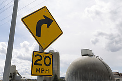 April 27, 2019 - Seattle, Washington, U.S - Seattle, Washington: Traffic warning signs near Ash Grove Cement Company's cement bulk Storage domes in the Industrial District. (Credit Image: © Paul Christian Gordon/ZUMA Wire)