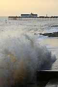© Licensed to London News Pictures. 30/11/2013. Southwold, UK large waves being broken by sea defences. Southwold pier. Crashing waves on the seafront in Southwold, Suffolk today, 30 November 2013. Photo credit : Stephen Simpson/LNP