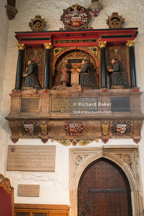 The memorial to Sir james Deane in St Olave's Church on the corner of Seething Lane in the City of London, on 30th May 2018, in London, England.