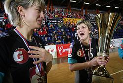 Maryna Vergelyuk and Olena Yatsenko of Krim at handball game ZRK Celje Celjske Mesnine vs RK Krim Mercator in final match of Slovenian Handball Cup,  on April 6, 2008 in Arena Golovec, Celje, Slovenia. Krim won the game 31:21 and became Cup Winner.  (Photo by Vid Ponikvar / Sportal Images)