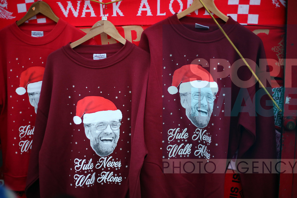 Jurgen Klopp Christmas jumpers on sale during the Premier League match at Anfield Stadium, Liverpool. Picture date December 27th, 2016 Pic David Klein/Sportimage