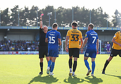 Marcus Forss of AFC Wimbledon is shown a red card - Mandatory by-line: Arron Gent/JMP - 21/09/2019 - FOOTBALL - Cherry Red Records Stadium - Kingston upon Thames, England - AFC Wimbledon v Bristol Rovers - Sky Bet League One