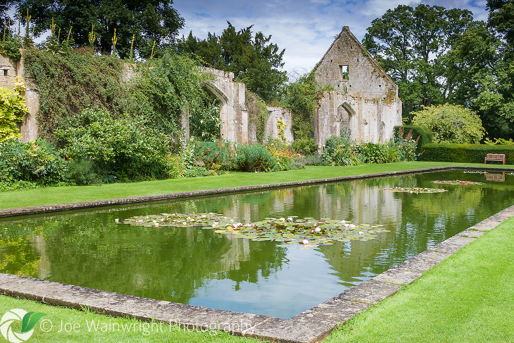 Partly destroyed during the civil war, the Tithe Barn at Sudeley Castle, Gloucestershire, dates from the 15th century.