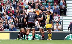 Saracens celebrate scoring a try - Mandatory by-line: Robbie Stephenson/JMP - 03/09/2016 - RUGBY - Twickenham - London, England - Saracens v Worcester Warriors - Aviva Premiership London Double Header