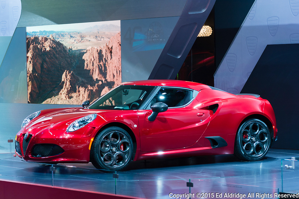 DETROIT, MI, USA - JANUARY 13, 2015: Alfa Romeo 4C on display during the 2015 Detroit International Auto Show at the COBO Center in downtown Detroit.