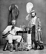 Ernst Haeckel (1834-1919) German zoologist and evolutionist. Recapitulation theory 'Ontology recapitulates phylogeny'. Haeckel in the Canaries in 1867 with his assistant Miklucho-Maclay.