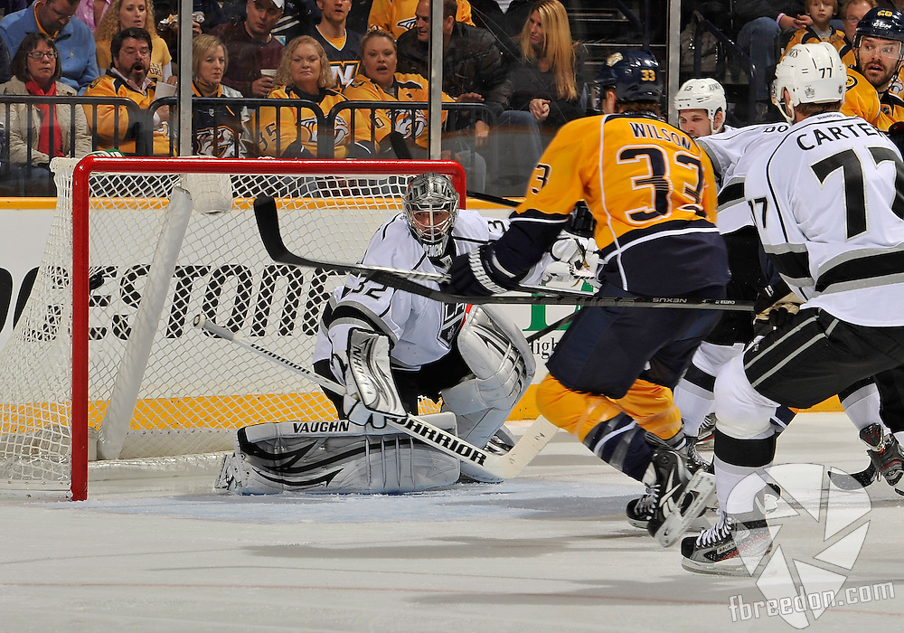 NASHVILLE, TN - FEBRUARY 07:  Colin Wilson #33 of the Nashville Predators scores a goal against goalie Jonathan Quick #32 of the Los Angeles Kings at the Bridgestone Arena on February 7, 2013 in Nashville, Tennessee.  (Photo by Frederick Breedon/Getty Images)