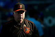 Baltimore Orioles manager Buck Showalter watches batting practice before his team's baseball game against the Kansas City Royals at Kauffman Stadium in Kansas City, Mo., Saturday, Sept. 1, 2018. (AP Photo/Colin E. Braley)
