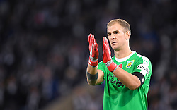 Burnley goalkeeeper Joe Hart applauds the fans after the final whistle of the Premier League match at the King Power Stadium, Leicester.